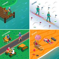 Elderly People 2x2 Isometric Icons Set