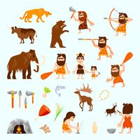 Stone Age Flat Icons Set  vector