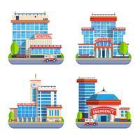 Krankenhaus flach isoliert Icons
