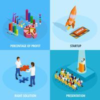 Conceito isométrico da realização do objetivo de negócios