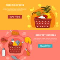 Food Supermarket Horizontal Banners vector