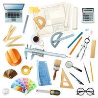 Conjunto de herramientas de construcción arquitecto