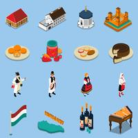 Ungern Isometric Touristic Icons Set