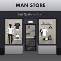 Hombre tienda de ropa deportiva realista Street View vector
