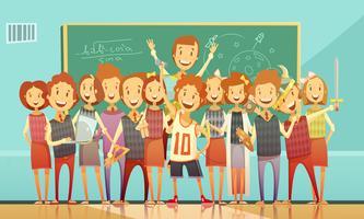 Cartel retro de la historieta de la educación escolar tradicional