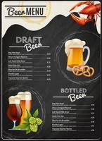 Menu de quadro de giz de cerveja