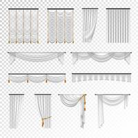 Transparent Curtains Draperies Realistic Set Background vector
