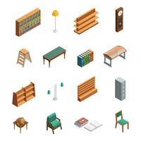 Bookstore Library Isometric Interior Elements