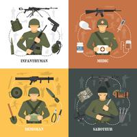 Military Army 4 flat icons Square