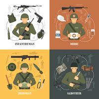 Ejército militar 4 iconos planos cuadrados