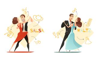 Dancing Pairs 2 Retro Cartoon Templates  vector