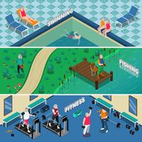 Elderly People Isometric Banners