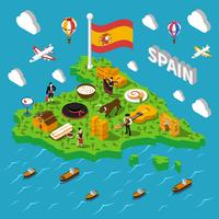 Spain Isometric Map Illustration
