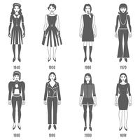 Fashion Evolution Black White Icons Set