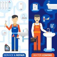 Servicio de fontanería 2 pancartas verticales planas