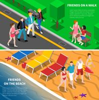 Friends Outdoor 2 isometric Banners Composizione