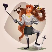 Cavaliere Con Drago Illustrazione