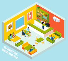 Restaurant Bar Interior Isometric Composition Poster