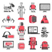 Artificial Intelligence Decorative Icons Set