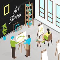 Ilustración isométrica de estudio de arte