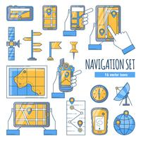 Navigatie Flat Color Icons Set