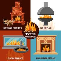 Fireplaces Design Concept vector