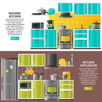 Kitchen Interior Horizontal Banners vector