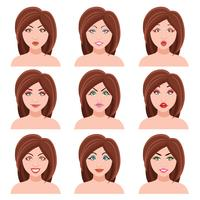 Kvinna Faces Vector Set