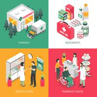 Pharmacy 4 Isometric Icons Square
