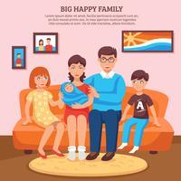 Lycklig familjillustration