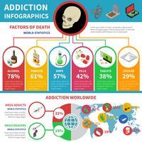 Insieme di infografica di tossicodipendenza