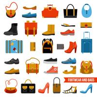 Fashion Footwear And Bags Set vector