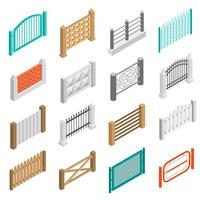 Staket Types Elements Ikoner Isometric Collection
