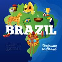 Mapa de viaje de Brasil símbolos cartel plano