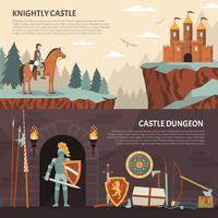 Bandeiras horizontais do cavaleiro medieval