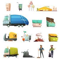 Conjunto de iconos de dibujos animados de clasificación de residuos de basura