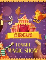 Reizende Circus Magic Show aankondigingsaffiche