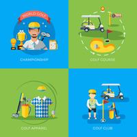 Golf 2x Flat Icons vector