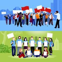 Demostración de protesta de personas composiciones