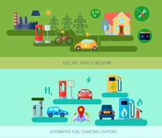 Alternative Energy Vehicles Banners Set  vector
