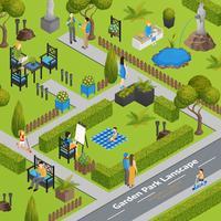 Illustrazione del paesaggio del parco del giardino
