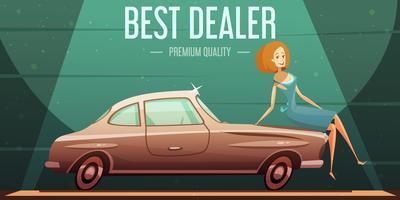 Cartel retro del distribuidor autorizado de venta de coche