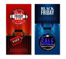 Banners verticales de venta de viernes negro