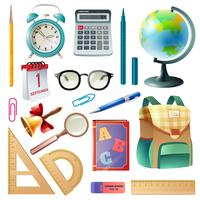 School Supplies Realistic Icons Collection