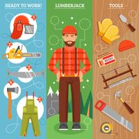 Work Of Lumberjack Vertical Banners Set