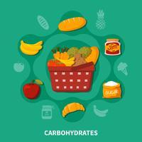 Cesta de comida supermercado composición redonda
