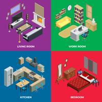 Conjunto de iconos de concepto isométrico interior