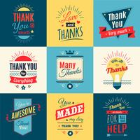 Thank You Colored Cards vector