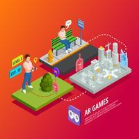 Cartel isométrico de juegos de AR de realidad aumentada