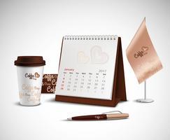 Conjunto de maquetas de identidad corporativa de calendario